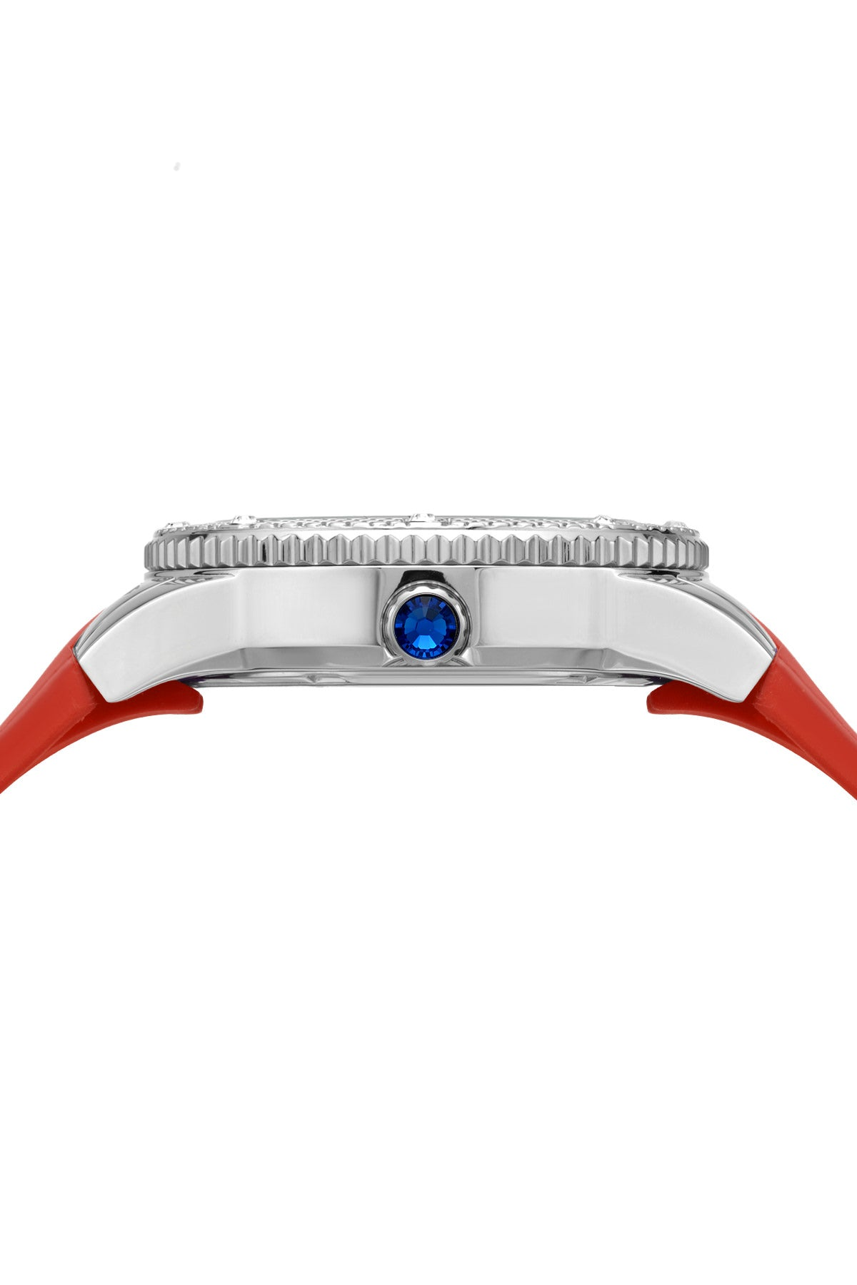 Porsamo Bleu Linda luxury women's watch, silicone strap, silver, red 493ALIR