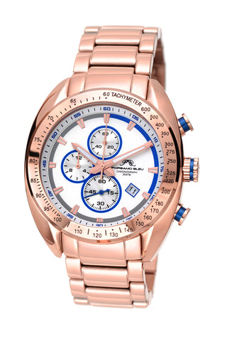 Porsamo Bleu Julien luxury  chronograph men's stainless steel watch, rose, white, blue 273AJUS