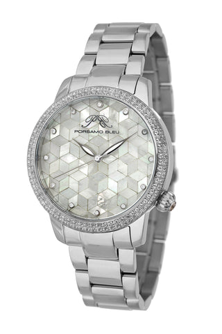 Porsamo Bleu Evelyn luxury topaz women's stainless steel watch, silver, white 761AEVS