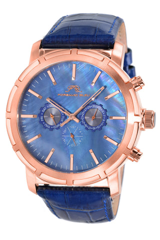 Porsamo Bleu NYC luxury men's watch, genuine leather band, rose, blue 056CNYL