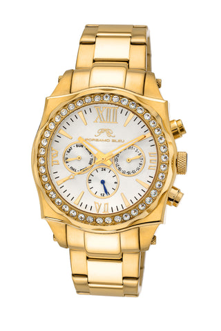 Porsamo Bleu Milan Crystal luxury women's stainless steel watch, Swarovski® crystals, gold, white, 037BMCS