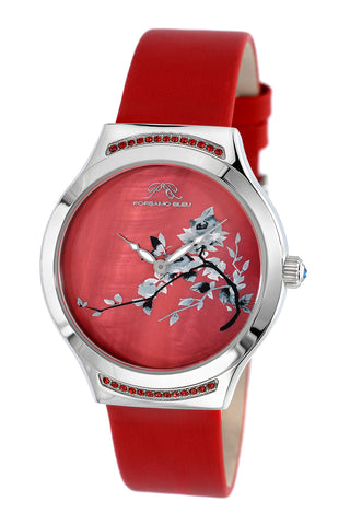 Porsmao Bleu Carmen luxury women's watch, satin covered genuine leather band, silver, red 992BCAL