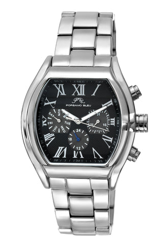 Porsamo Bleu Bruno luxury men's stainless steel watch, silver, black 201BBRS