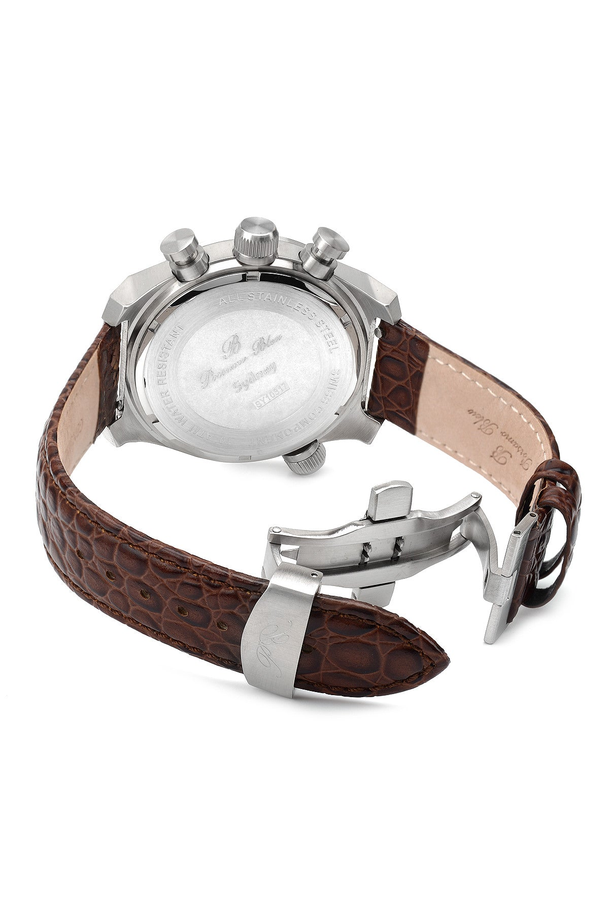 Porsamo Bleu Sydney luxury men's watch, genuine leather band, silver, brown 161BSYL