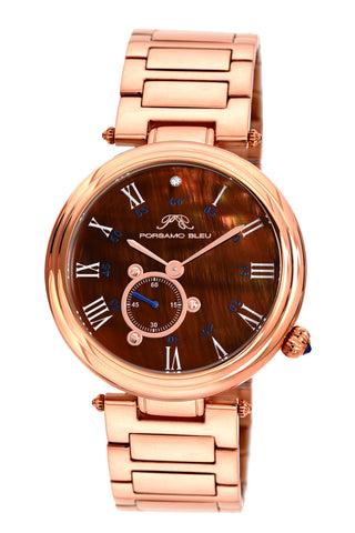 Porsamo Bleu Celeste luxury women's stainless steel watch, rose, brown 193BCES