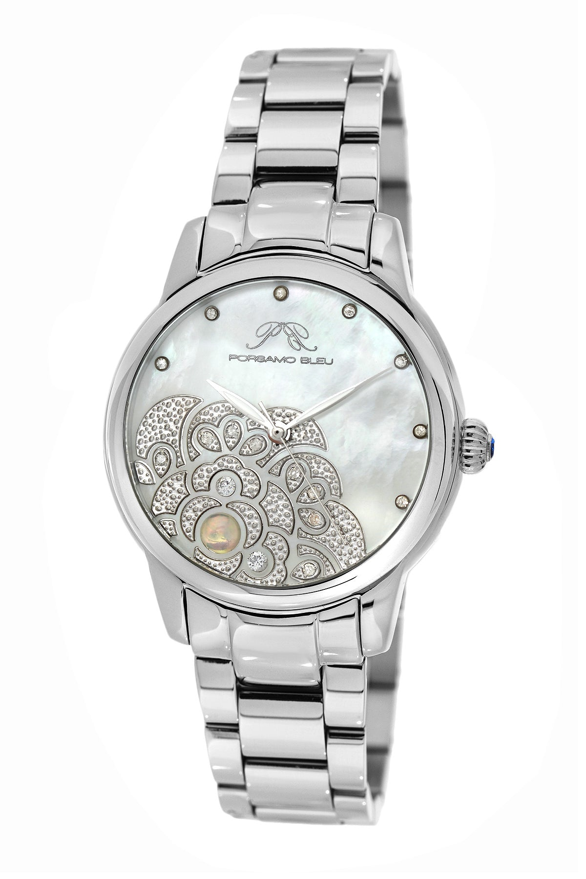 Porsamo Bleu Juliet luxury diamond, opal women's stainless steel watch, silver 701AJUS