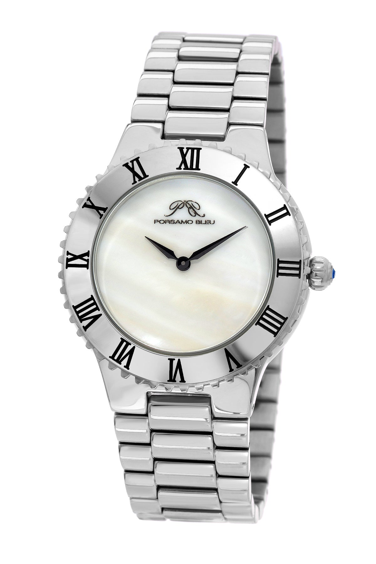 Porsamo Bleu Lexi luxury women's stainless steel watch, silver tone 941ALES