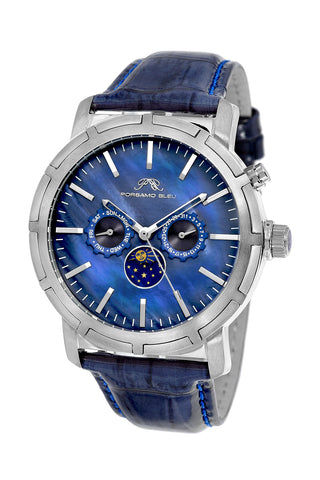 Porsamo Bleu NYC Moon luxury men's watch, genuine leather band, silver, blue 058ANYL