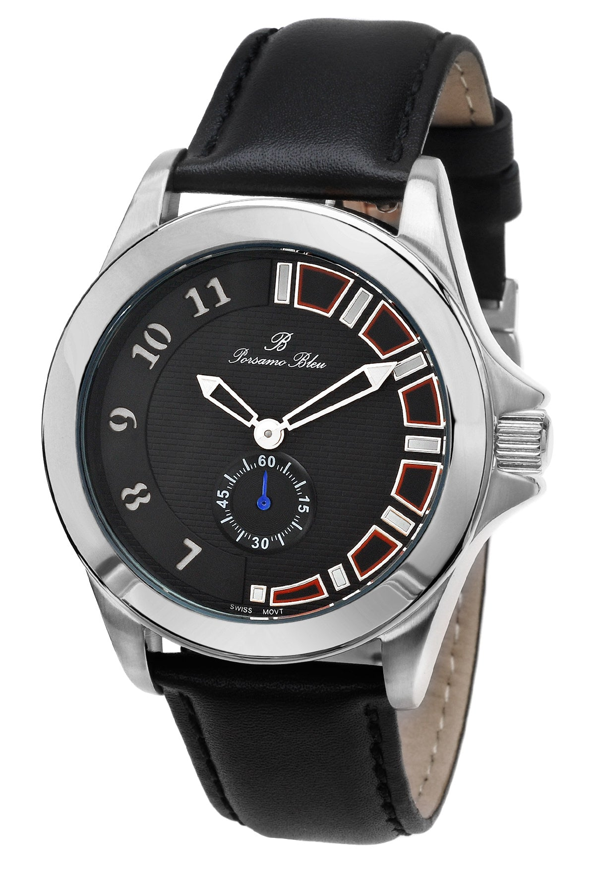 Porsamo Bleu Soho luxury men's dress watch with genuine leather band, silver tone and black 041ASOL