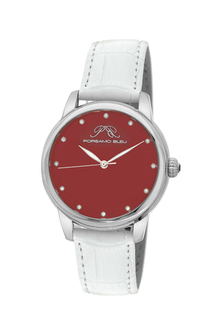 Porsamo Bleu Gemma luxury diamond women's watch, genuine leather band, silver, white, coral 731DGEL