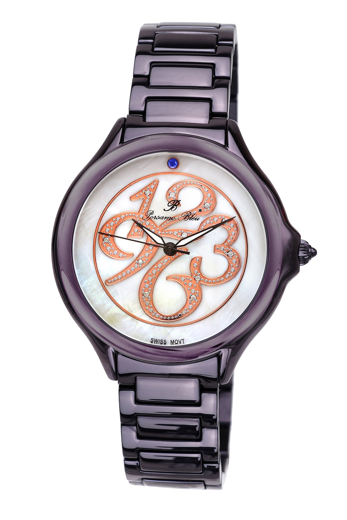 Porsamo Bleu Paris luxury diamond women's stainless steel watch, purple 132CPAS