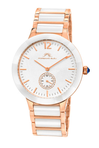 Porsamo Bleu Clarissa luxury women's ceramic watch, rose, white 551CCLC