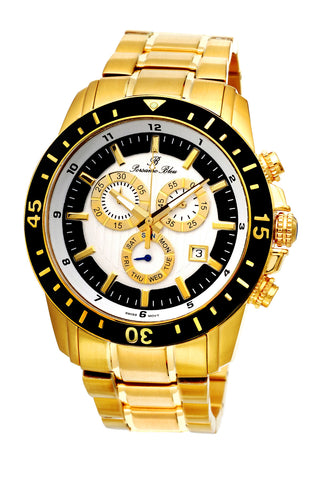 Porsamo Bleu Grand Prix G luxury chronograph men's stainless steel watch, gold, black 081BGPS