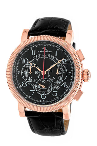 Porsamo Bleu Phileas luxury chronograph men's watch, genuine leather band rose, black 472CPHL