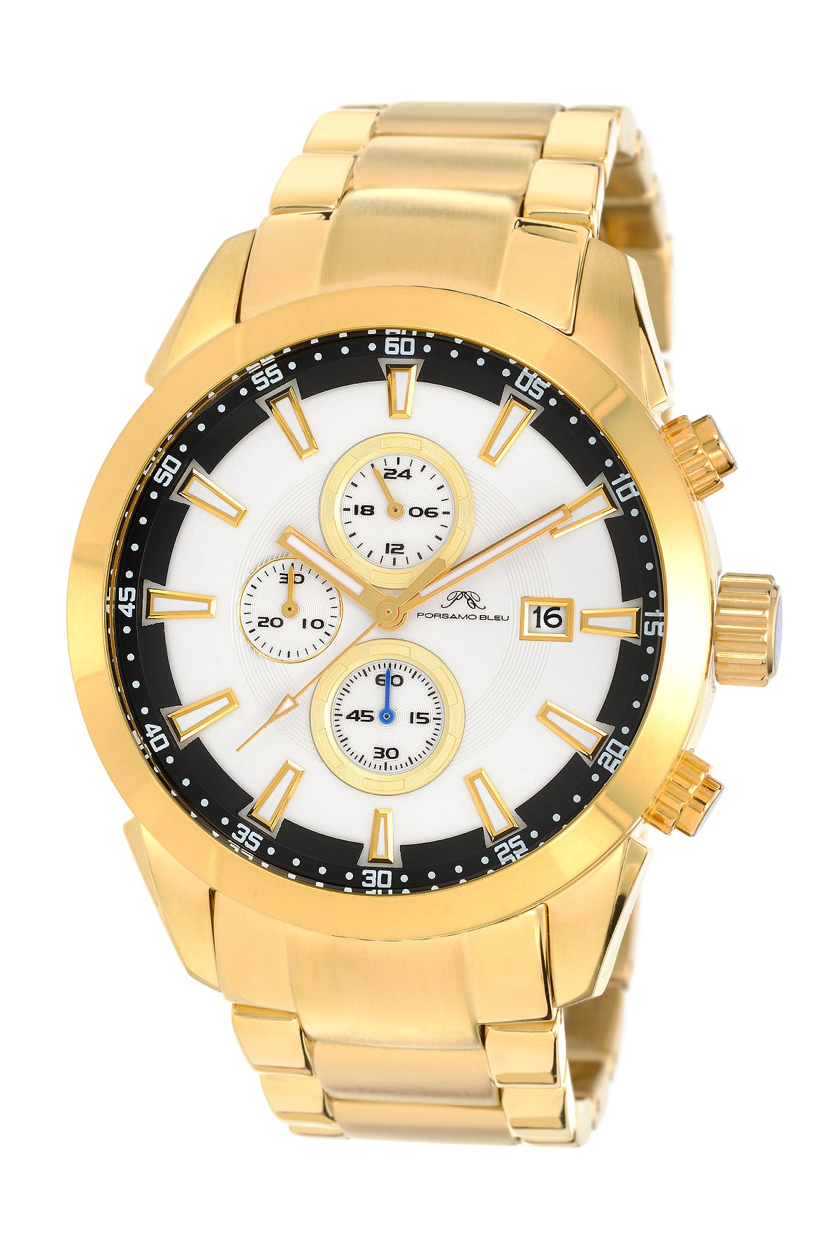 Porsamo Bleu Enzo luxury chronograph men's stainless steel watch, gold 451BENS