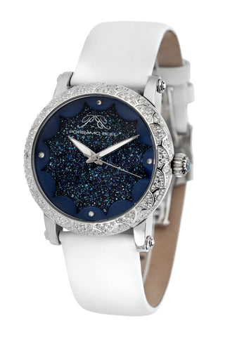 Porsamo Bleu Genevieve luxury topaz women's watch satin leather watch, silver, blue, white 682AGEL