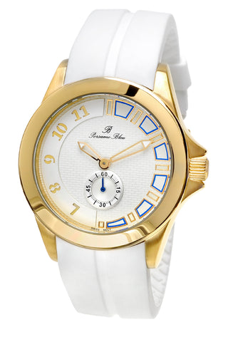 Porsamo Bleu Soho luxury men's watch, silicone strap, gold, white 046ASOR