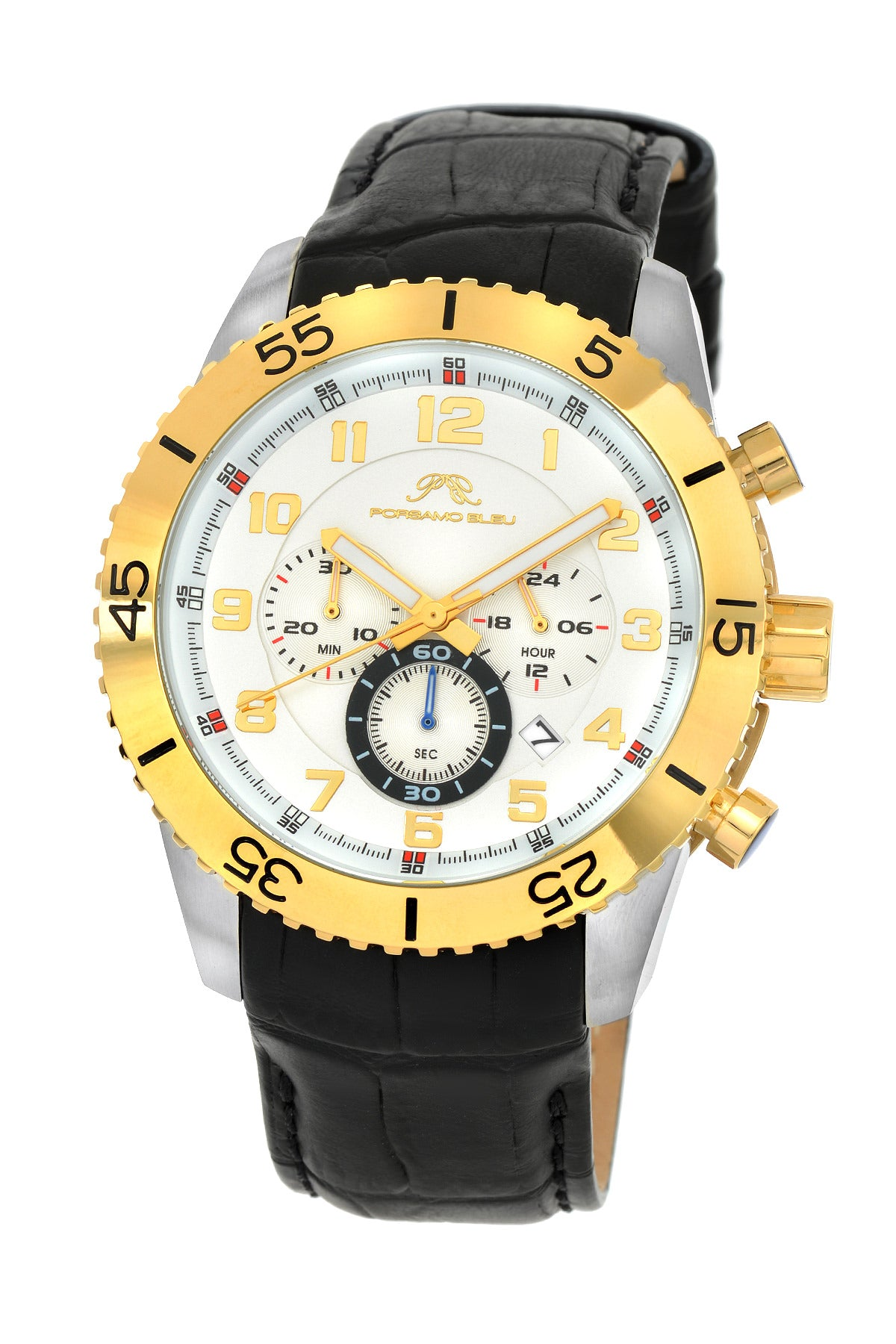 Porsamo Bleu Tristan luxury chronograph men's watch, genuine leather band, gold, silver, black 591CTRL