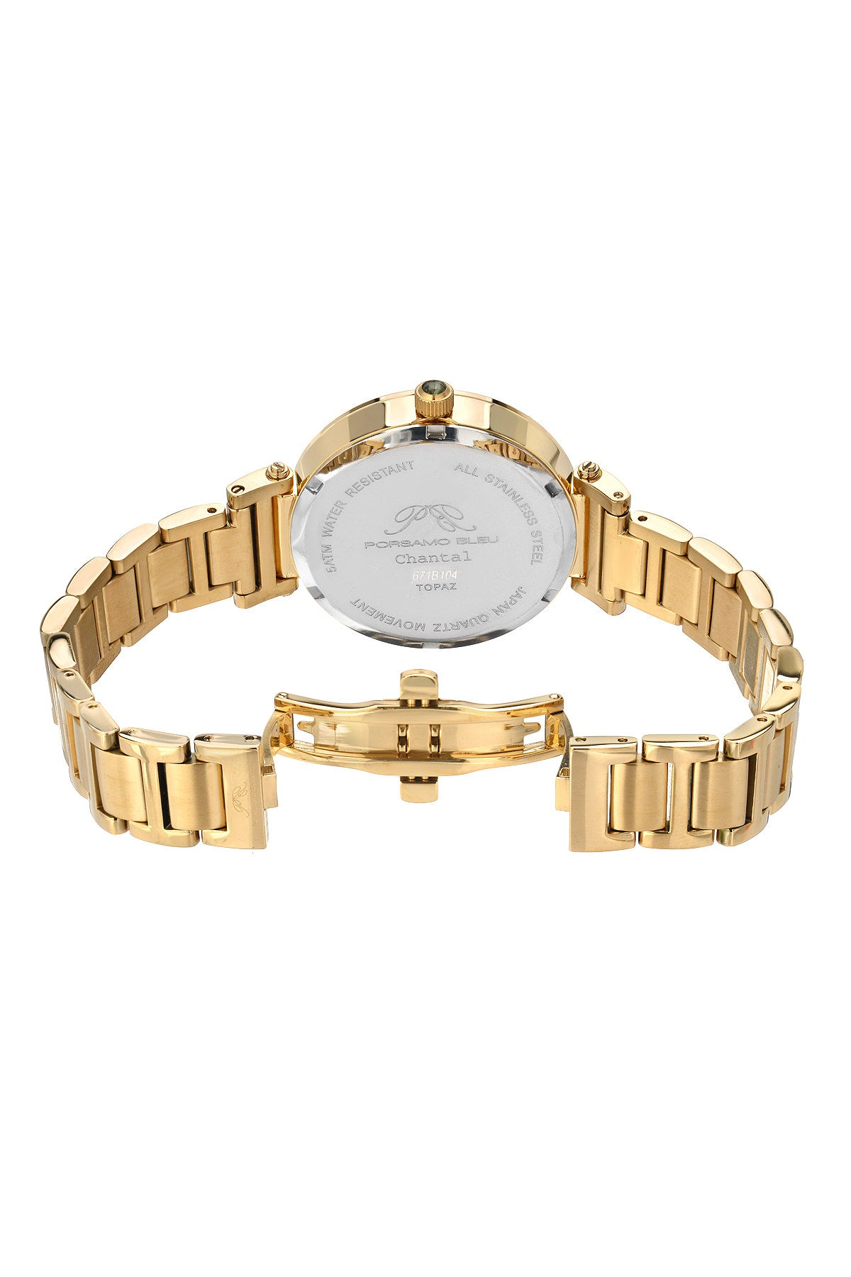 Porsamo Bleu Chantal luxury topaz women's stainless steel watch, gold, white 671BCHS