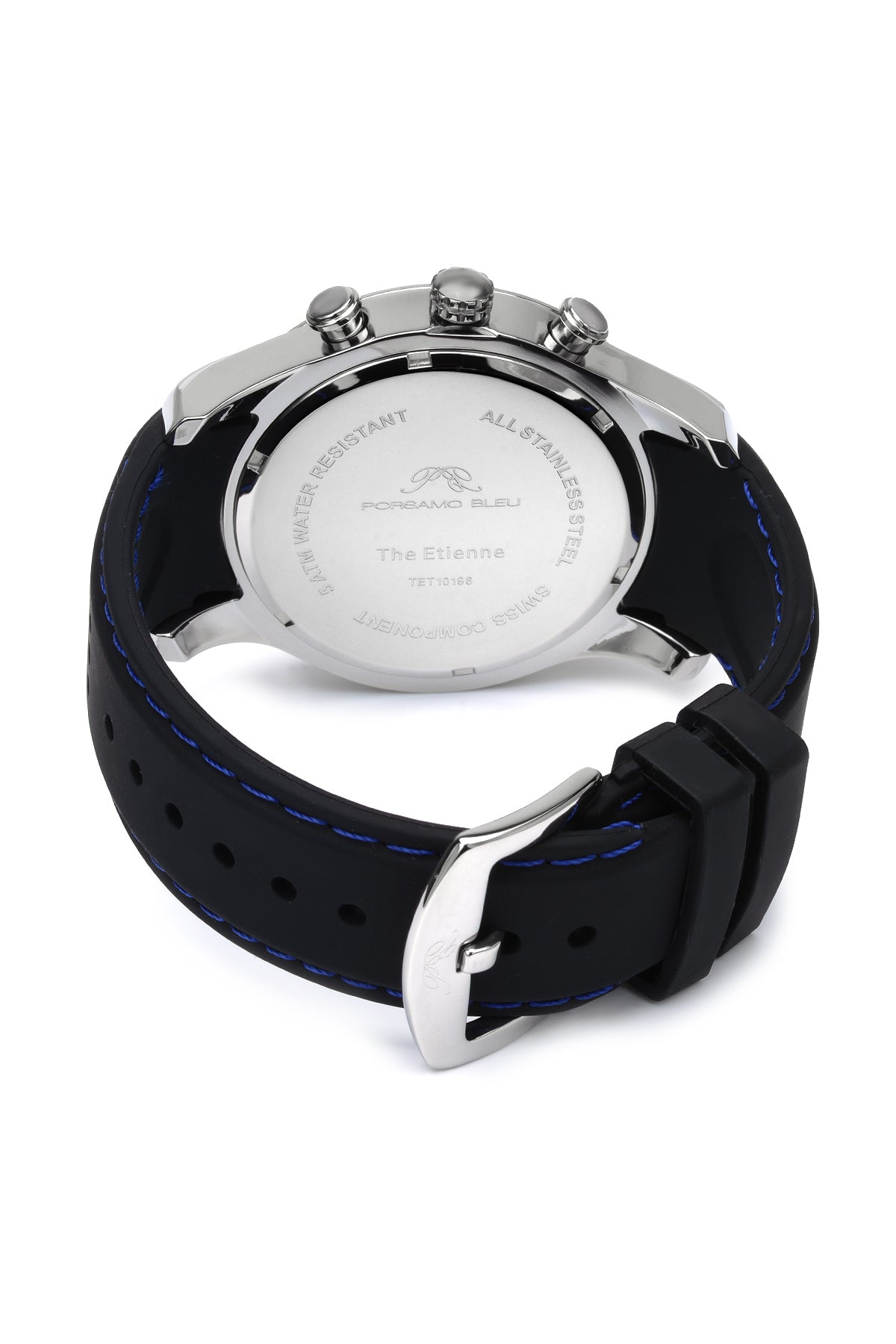 Porsamo Bleu Etienne luxury men's watch, silicone strap, silver, black 212CETR