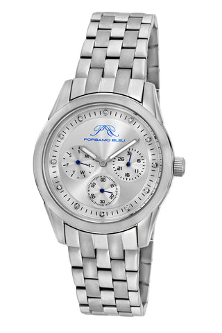 Porsamo Bleu Diana luxury diamond women's stainless steel watch, silver 741ADIS
