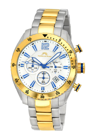 Porsamo Bleu Taylor luxury chronograph men's stainless steel watch, silver, gold 621DTAS