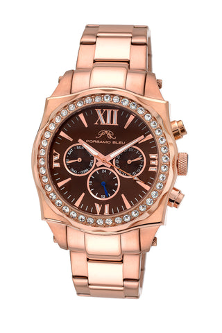 Porsamo Bleu Milan Crystal luxury women's stainless steel watch, Swarovski® crystals, rose, 038CMCS