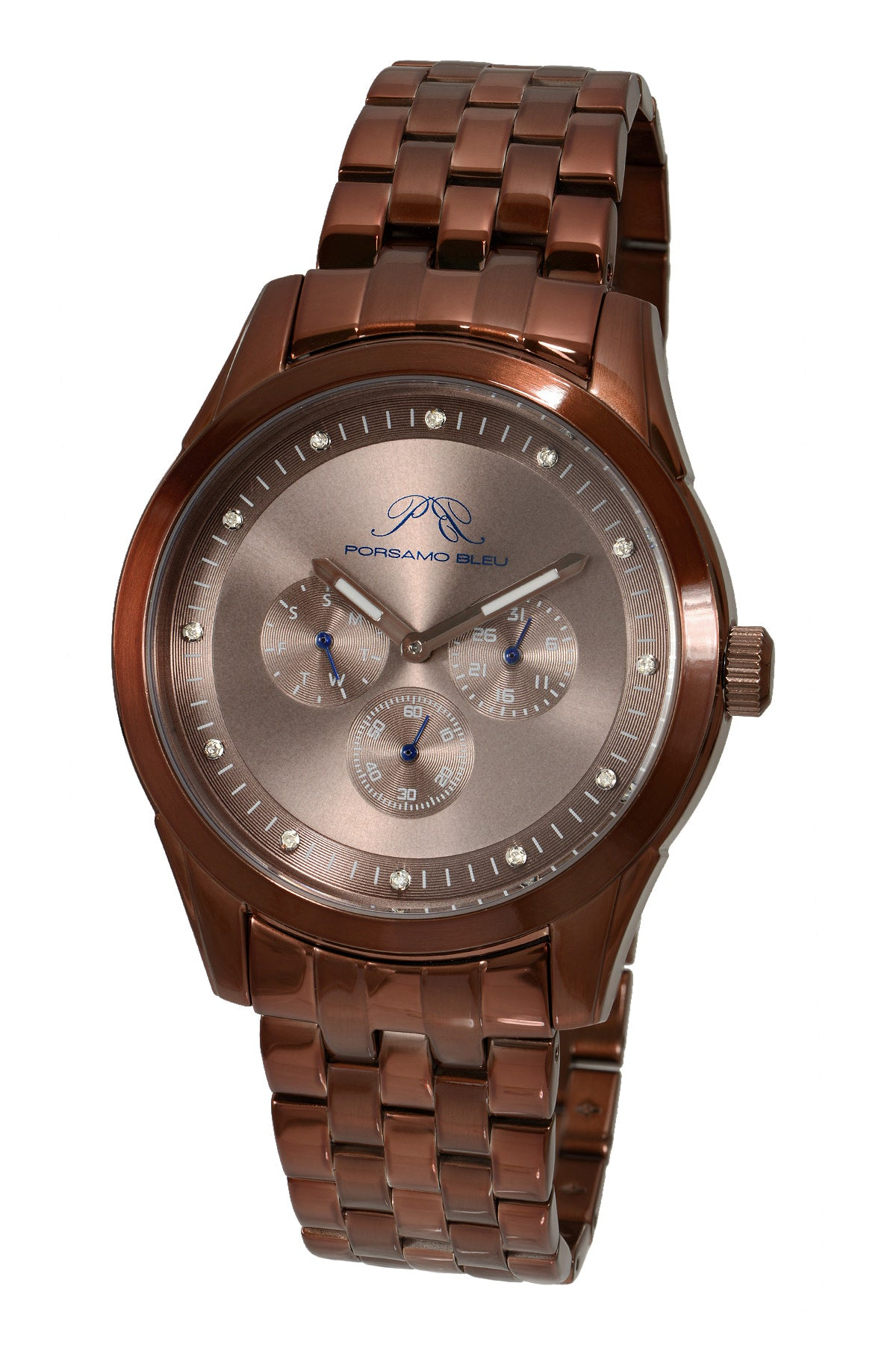 Porsamo Bleu Vince luxury diamond men's stainless steel watch, brown 751BVIS