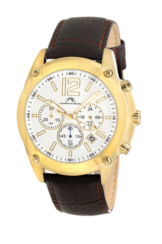 Porsamo Bleu Nathan luxury chronograph men's watch, genuine leather band, gold, brown 641BNAL