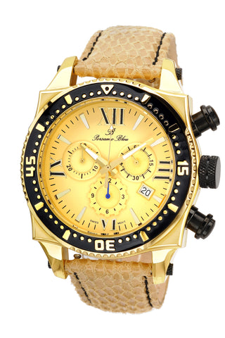 Porsamo Bleu Milan M luxury chronograph men's watch, genuine leather band gold, beige, black 033AMIL