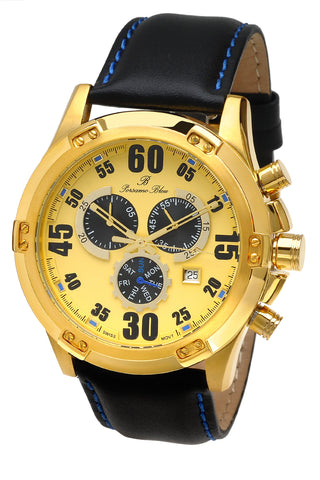 Porsamo Bleu Cancun luxury chronograph men's watch, genuine leather band, gold, black 061BCAL