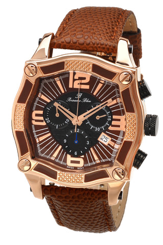 Porsamo Bleu Sao Paulo chronograph men's watch, genuine leather band, rose, brown 022CSPL