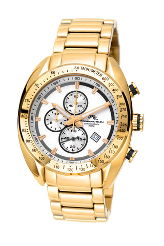 Porsamo Bleu Julien luxury  chronograph men's stainless steel watch, gold, white, black 274AJUS