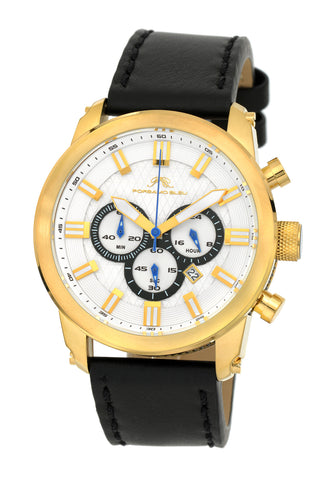 Porsamo Bleu Demetrios luxury chronograph men's watch, genuine leather band, gold, black 602BDEL