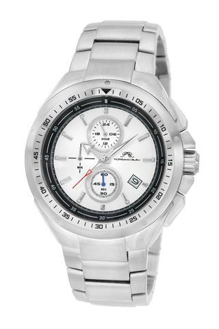 Porsamo Bleu Damien luxury chronograph men's stainless steel watch, silver 311ADAS