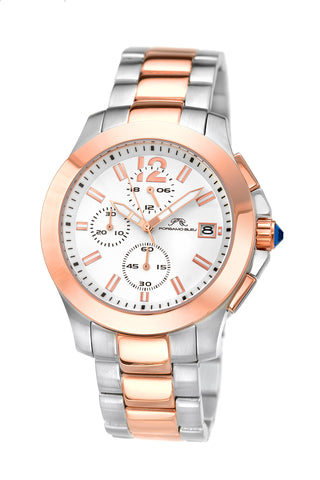 Porsamo Bleu Harper luxury chronograph women's stainless steel watch, silver, rose 523BHAS