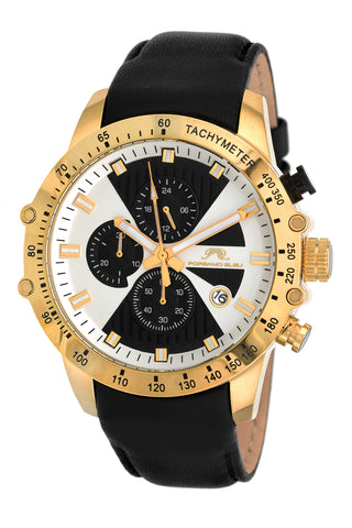 Porsamo Bleu Aiden luxury chronograph men's watch, genuine leather band, gold, black 362BAIL