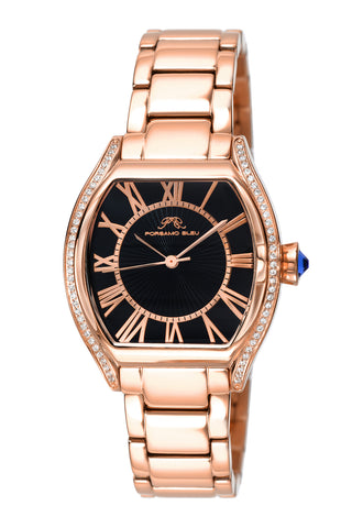 Porsamo Bleu Isabel luxury women's stainless steel watch, crystals, rose, black 183CISS