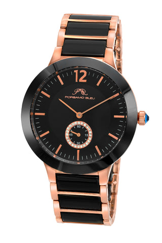 Porsamo Bleu Clarissa luxury women's ceramic watch, rose, black 552CCLC