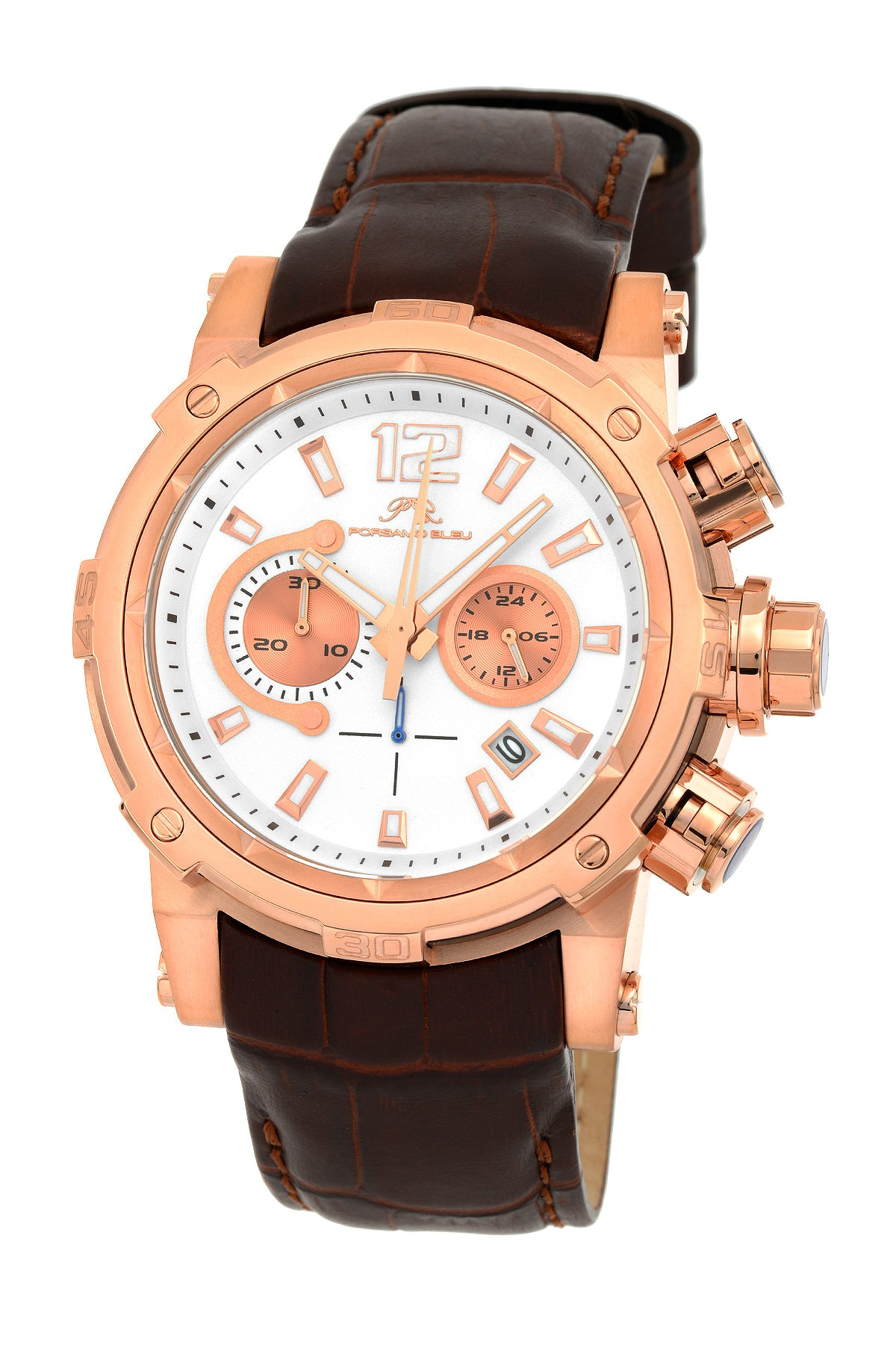 Porsamo Bleu Antonio luxury chronograph men's watch, genuine leather band, rose, brown 611CANL