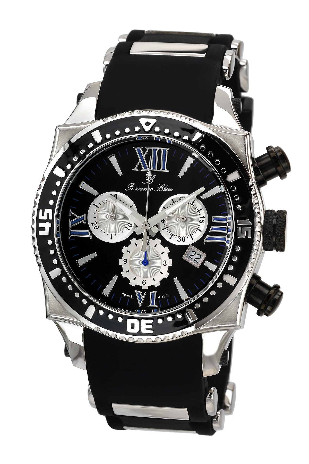 Porsamo Bleu Milan M luxury chronograph men's watch, silicone strap, silver, black, 034BMIR