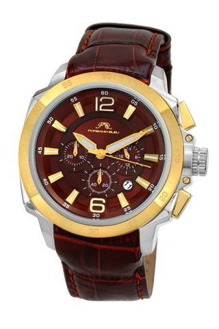 Porsamo Bleu Olivier luxury chronograph men's watch, genuine leather band, gold, brown 322BOLL
