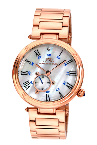 Porsamo Bleu Celeste luxury women's stainless steel watch, rose, white 193ACES