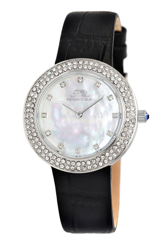 Porsamo Bleu Larissa luxury women's watch, genuine leather band, crystal inlaid bezel, white, silver,black 891ALAL