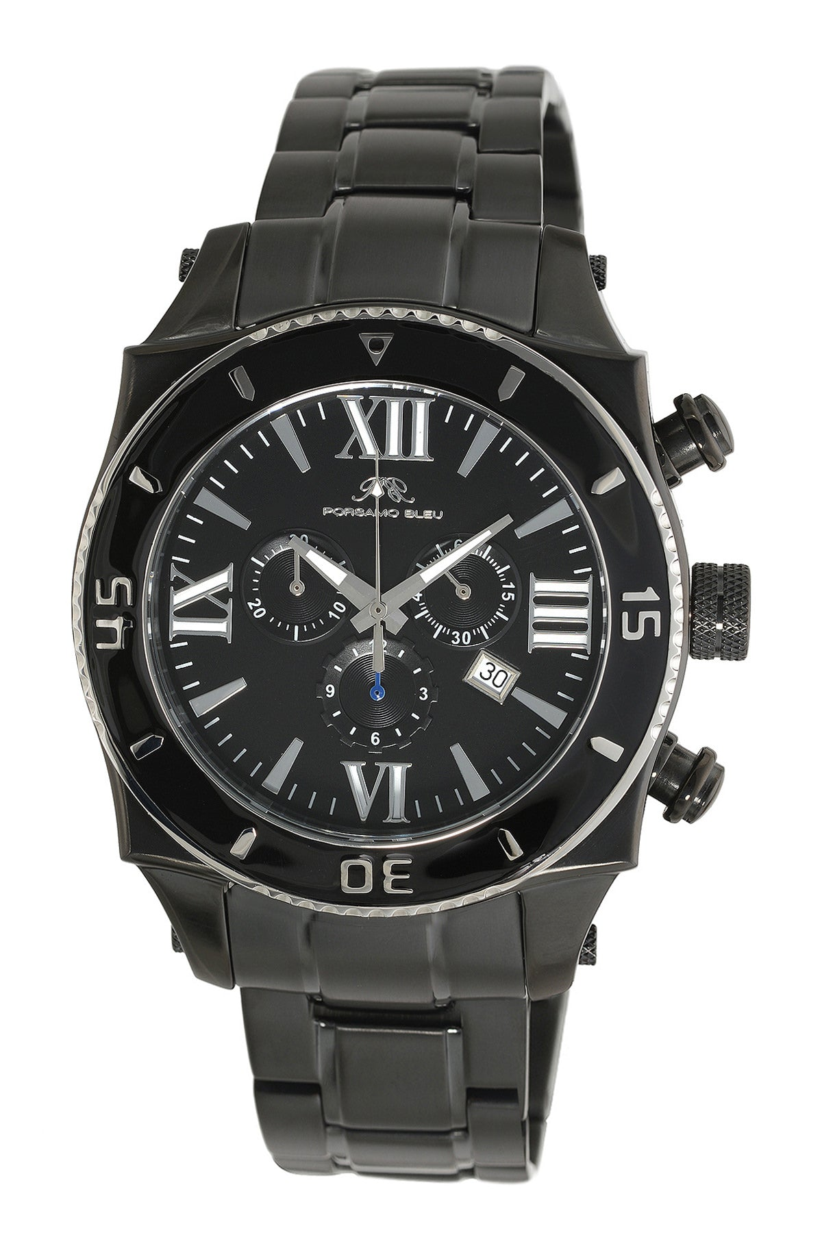 Porsamo Bleu Milan G luxury chronograph men's stainless steel watch, black 071BMIS