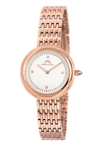 Porsamo Bleu Florentina luxury diamond women's stainless steel watch, white, rose 901CFLS