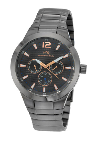 Porsamo Bleu Luca luxury men's stainless steel watch, grey, black 531FLUS