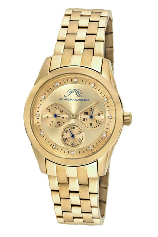 Porsamo Bleu Diana luxury diamond women's stainless steel watch, gold 741BDIS