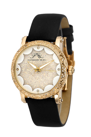 Porsamo Bleu Genevieve luxury topaz women's watch, satin leather watch, gold, black 681BGEL