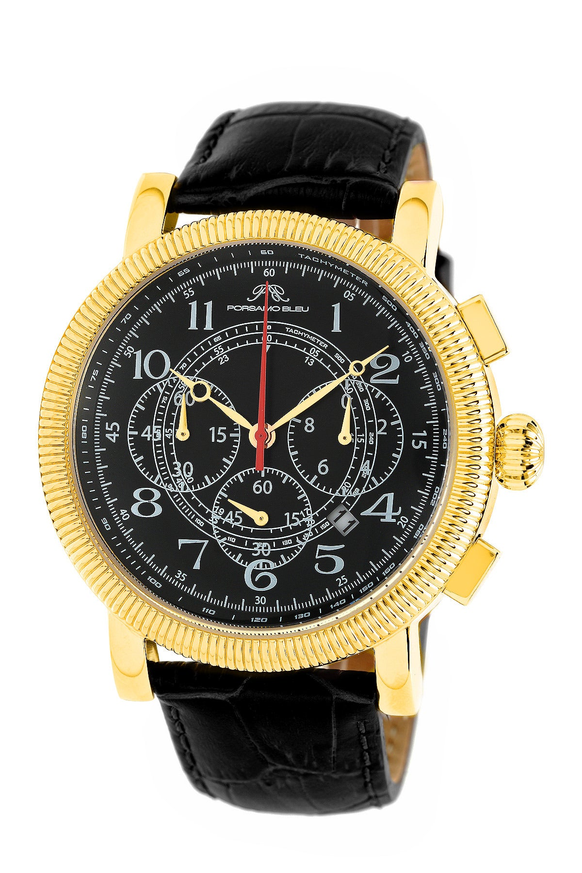 Porsamo Bleu Phileas luxury chronograph men's watch, genuine leather band gold, black 472BPHL
